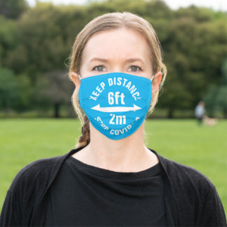 Social Distancing Sign 6 feet 2 meter distance Adult Cloth Face Mask