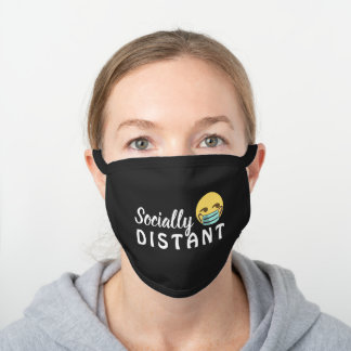 SOCIALLY DISTANT EMOJI BLACK WHITE MESSAGE BLACK COTTON FACE MASK