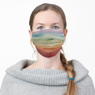 Soft Colorful Watercolor Rainbow Stripe Face Mask