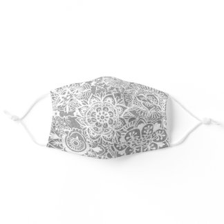 Soft Grey and White Mandala Pattern Adult Cloth Face Mask