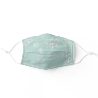 Soft Icy Blue White Snowflakes Winter Holiday Adult Cloth Face Mask