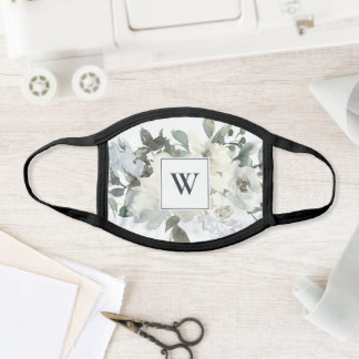 SOFT IVORY WHITE FLORA WATERCOLOR MONOGRAM INITIAL FACE MASK