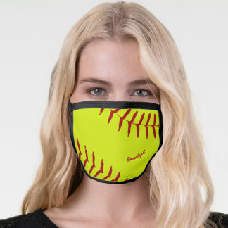 Softball Sport Themed Monogrammed Face Mask