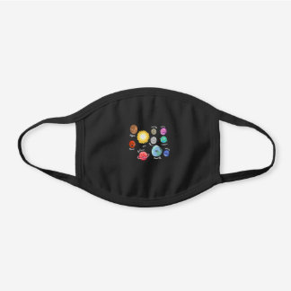 Solar System Moon Space Planet Stars Black Cotton Face Mask