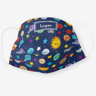 Solar System Pattern with Planets Fun Cloth Face Mask
