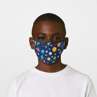 Solar System Pattern with Planets Fun Kids Premium Face Mask