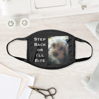 Solid Black Cute Yorkie Dog Photo Your Text Black Face Mask