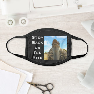 Solid Black Ostrich Bite Photo Your Text Funny Face Mask