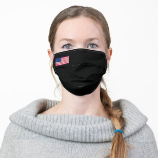 Solid Black with American Flag Adult Cloth Face Mask