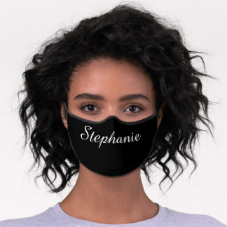 Solid Black with Name Minimalist Premium Face Mask