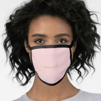 Solid Color Pastel Pink Personalized Name Face Mask