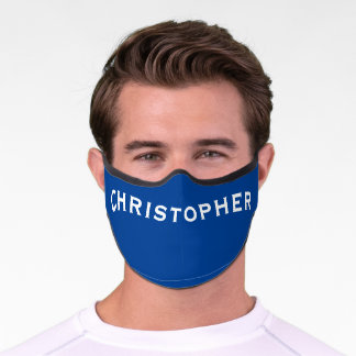 Solid Dark Blue with Bold White Name, Minimalist Premium Face Mask