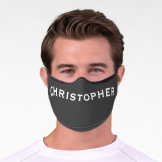 Solid Dark Gray with Name Minimalist Premium Face Mask