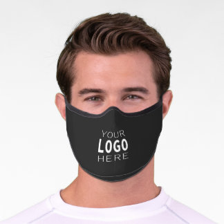 Solid Dark Grey & Easy Logo Replacement Template Premium Face Mask