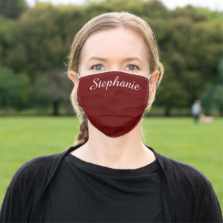 Solid Deep Red Personalized Name Cloth Face Mask