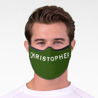 Solid Forest Green with Name Minimalist Premium Face Mask