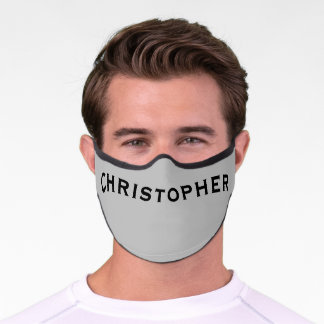 Solid Light Gray with Name Minimalist Premium Face Mask