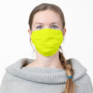 Solid Neon Safety Yellow Adult Cloth Face Mask