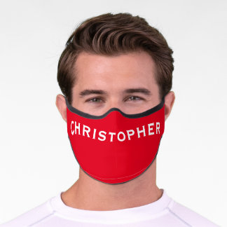 Solid Red with Name Minimalist Premium Face Mask