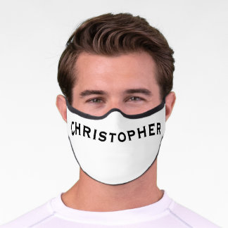 Solid White with Name Minimalist Premium Face Mask