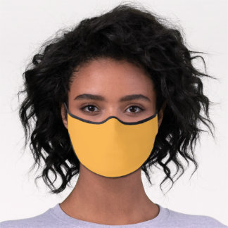 Solid Yellow Amber Simple Premium Face Mask