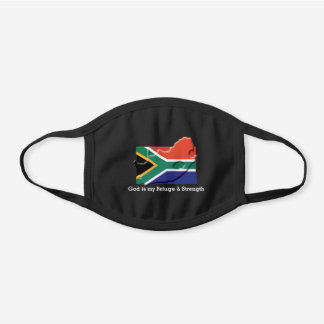 SOUTH AFRICA FLAG | Customizable | GOD MY REFUGE Black Cotton Face Mask