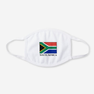 South Africa Flag White Cotton Face Mask