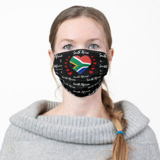 South African flag & Heart Africa fashion /sports Adult Cloth Face Mask