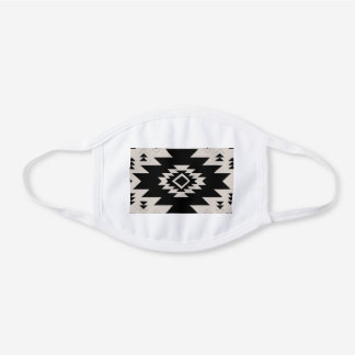 Southwest pattern white cotton face mask