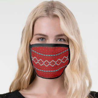 Southwest Red and Turquoise Geometric Mesa Pattern Face Mask