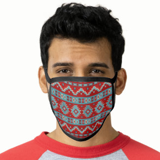 Southwest Red Turquoise Mesas Geometric Pattern Face Mask