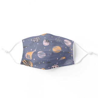 Space Camp Solar System Planets Stars Face Mask