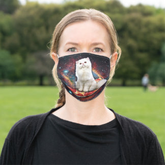 Space cat pizza adult cloth face mask