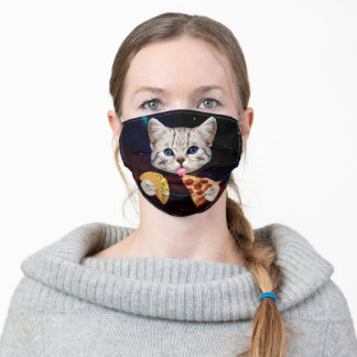 Space Cat with taco and pizza Adult Cloth Face Mask
