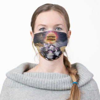 space cats looking for the burger adult cloth face mask