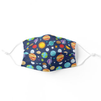 Space Pattern, Planets, Astronomy, Cosmos, Galaxy Adult Cloth Face Mask