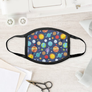 Space Pattern, Planets, Stars, Cosmos, Galaxy Face Mask