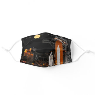 Space Shuttle Discovery and Moon Adult Cloth Face Mask