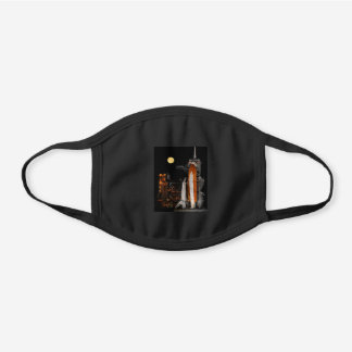 Space Shuttle Discovery and Moon Black Cotton Face Mask