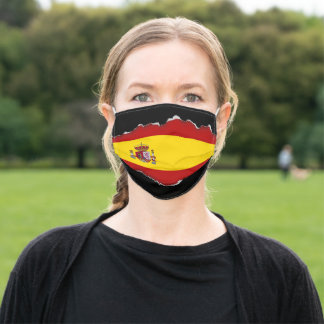 Spain Flag | Faux Torn Out Look Adult Cloth Adult Cloth Face Mask