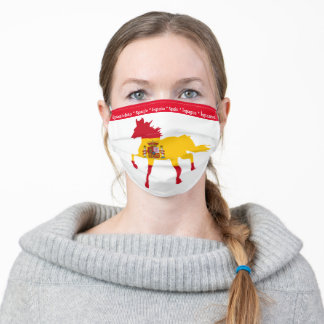 Spain, Spanish flag & Horse Running /face mask