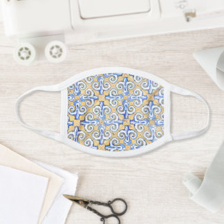 Spanish Tiles - Azulejo Blue, Yellow and White Face Mask