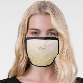 Sparkles chic gold glitter ombre pink monogram face mask