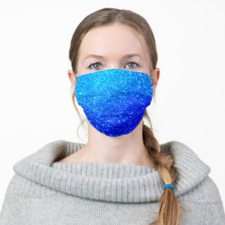 Sparkling Deep Cobalt Blue Glitter Cute Stylish Adult Cloth Face Mask