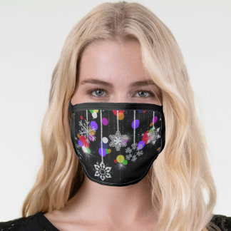 sparkling snowflakes and ornaments face mask