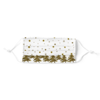 Sparkly Christmas tree, moon, stars Adult Cloth Face Mask