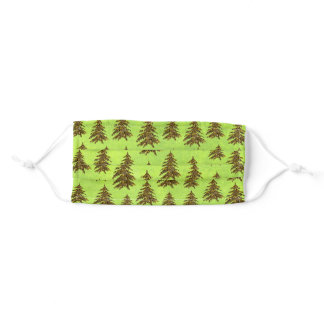 Sparkly Christmas tree on abstract green paper Adult Cloth Face Mask