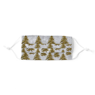 Sparkly Christmas tree on abstract silver paper Adult Cloth Face Mask
