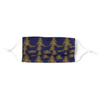 Sparkly Christmas tree on blue Adult Cloth Face Mask