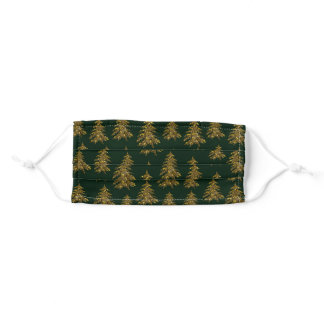 Sparkly Christmas tree on green Adult Cloth Face Mask